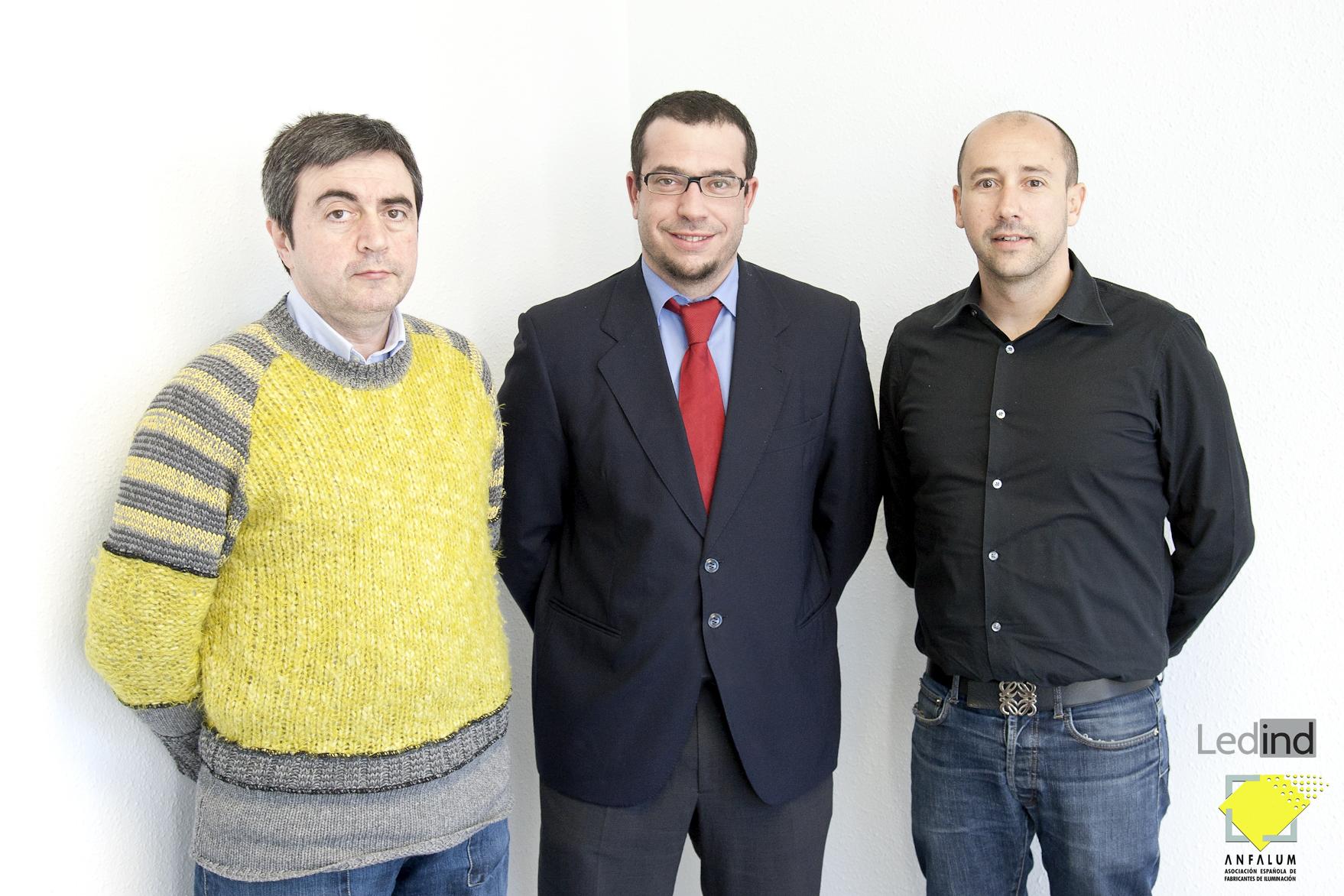 Alfalum visita la sede de Ledind con Javier Moreno Guerrero , Ricardo Pomatta Gutiérrez y Toni Castells Bisbal