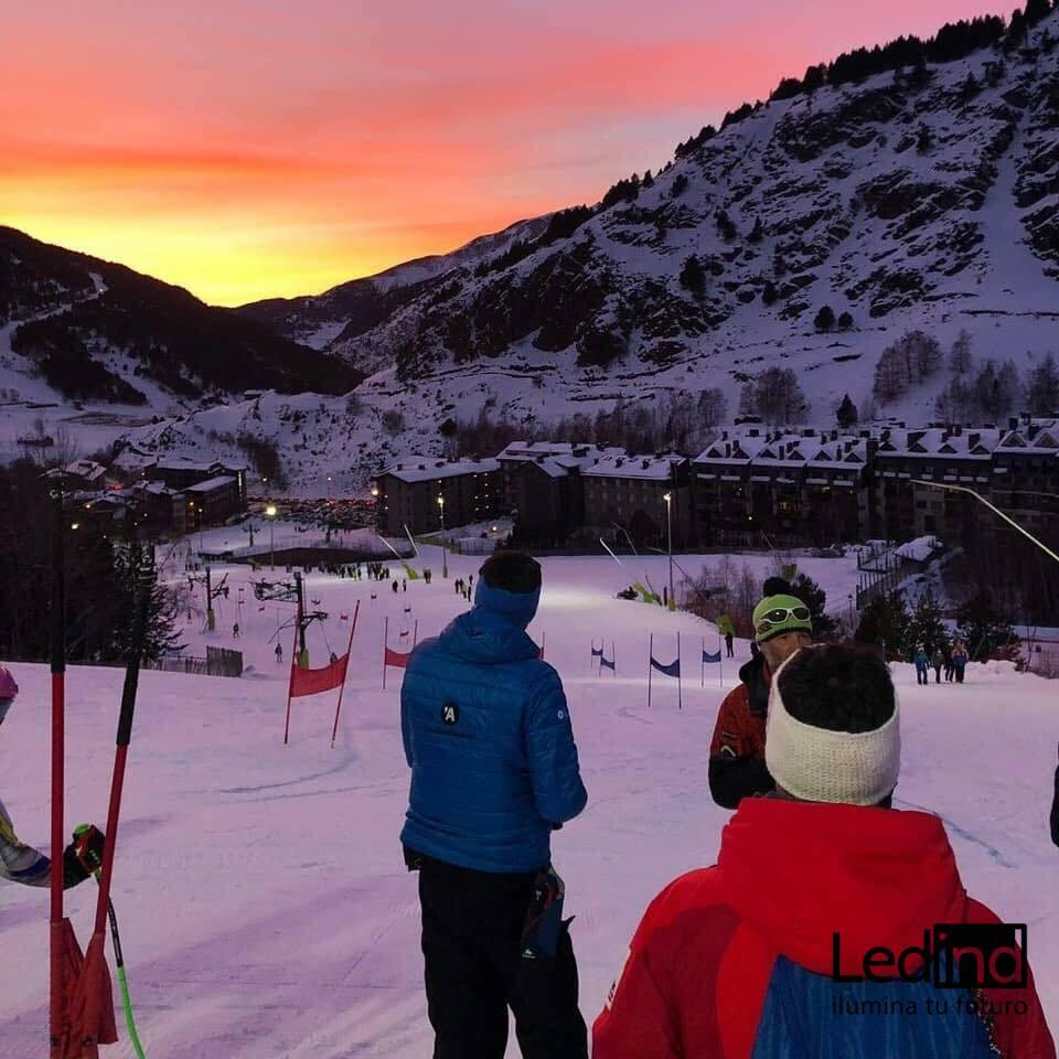 Iluminación led para estación de esquí